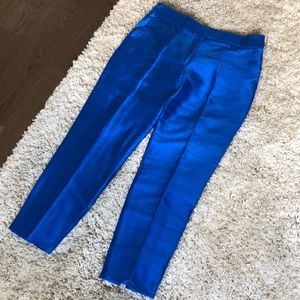 NWOT Halston Heritage Royal Blue Shiny Silk Pants
